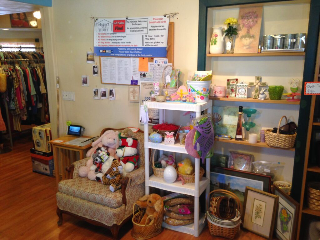 Image of décor inside Maggie's Thrift