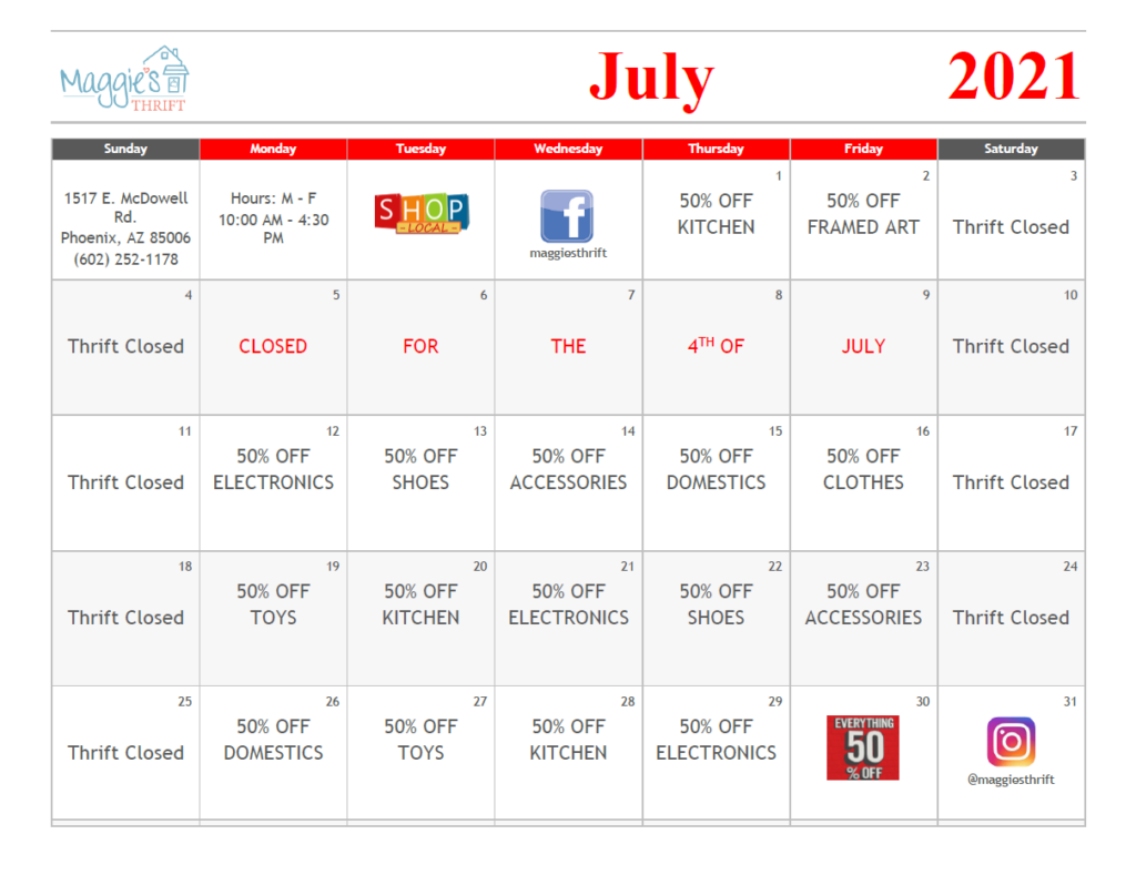 Image of July sales calendar