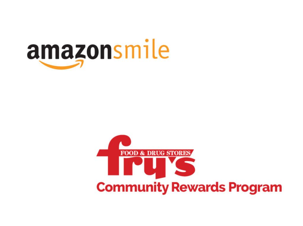 Amazon Smile and Fry's Community Rewards Program logos